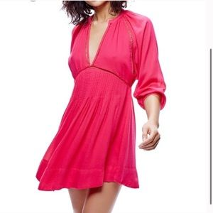 Free People Swing Dress Boho Hot Pink V-neck flare